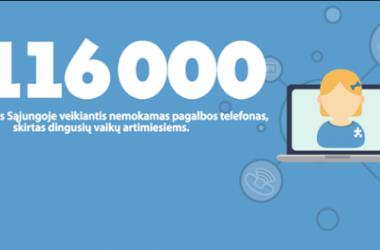 Linija 116 000 skirta pranešimams dėl dingusių vaikų