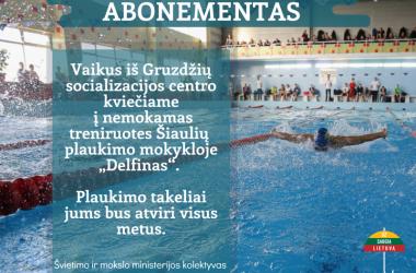 """""""Delfinas"""" - plaukimo pamokos vaikams, apgyvendintiems socializacijos centre"""